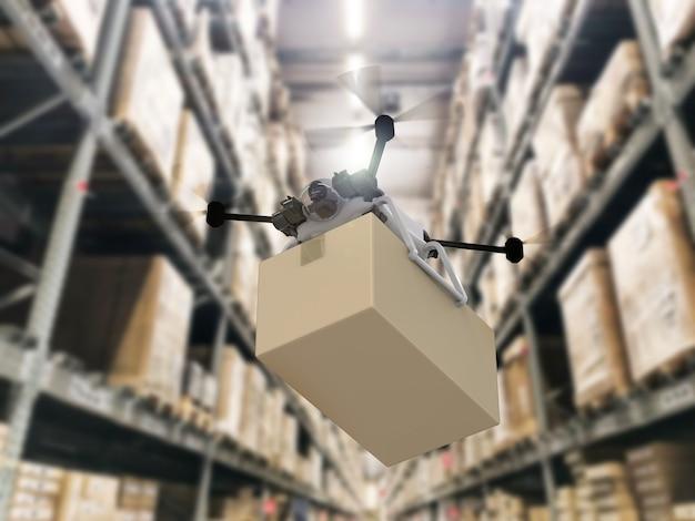 Drone de entrega de renderização 3d segurando uma caixa de papelão no armazém