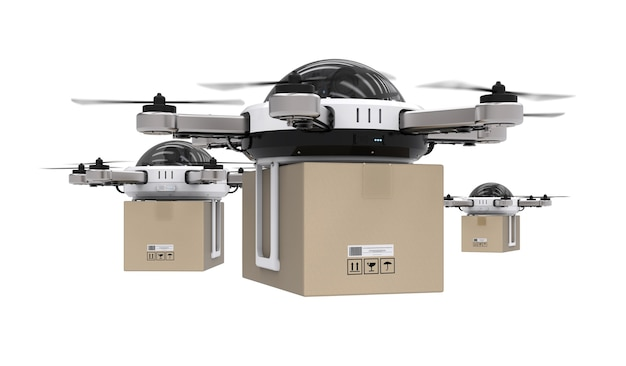 Drone de entrega de renderização 3d voando com caixa de papelão isolada no branco