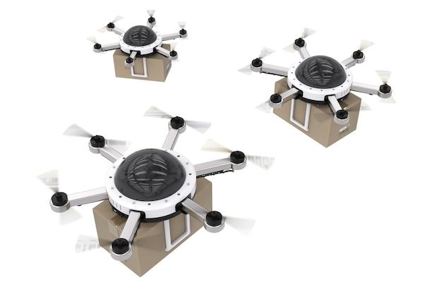 Drone de entrega de renderização 3d voando com caixa de papelão