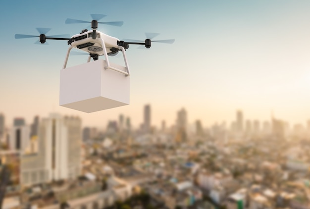 Drone de entrega de renderização 3d voando com o fundo da cidade