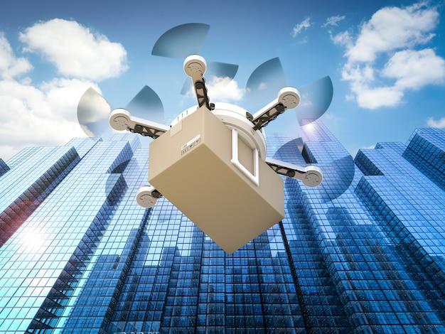 Drone de entrega de renderização 3d voando em cidade urbana