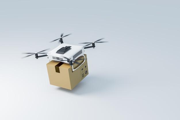 Drone de entrega em fundo branco, renderização de ilustrações 3d