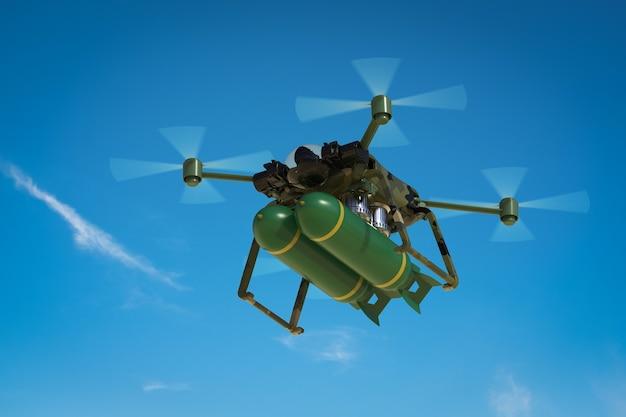 Drone militar de renderização 3d com míssil no céu azul