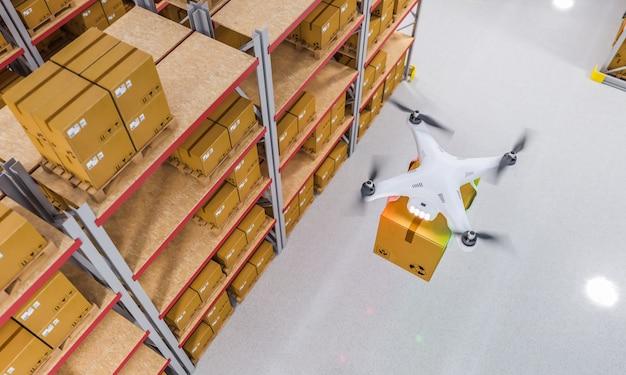 Drone no trabalho em armazém