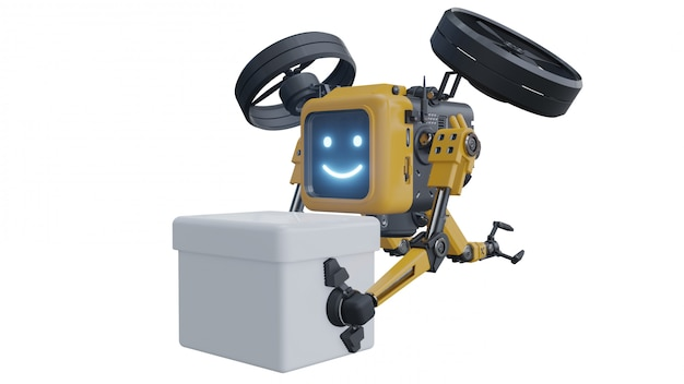 Drone robô fornece suprimentos. drone de robô de transporte.