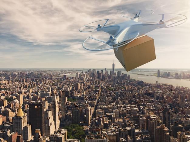 Drone uav sobrevoando a cidade para entregar uma remessa