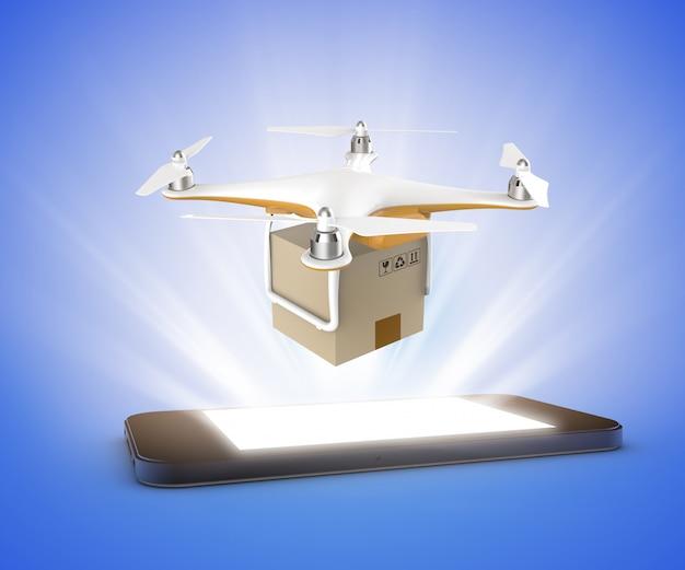 Drone voando com um pacote de caixa de entrega de um smartphone