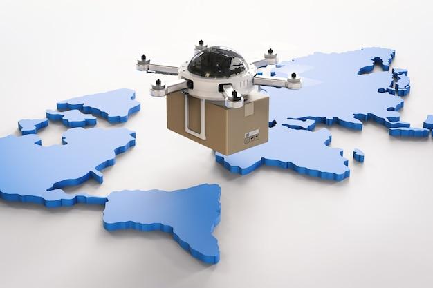 Drones de entrega de renderização 3d no mapa mundial
