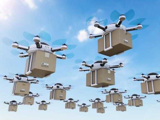 Drones de entrega de renderização 3d voando no céu