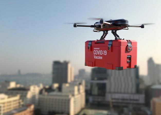 Drones entregam a vacina covid-19 na cidade. ilustração 3d