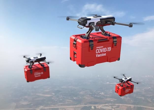 Drones entregam a vacina covid-19 no céu. ilustração 3d