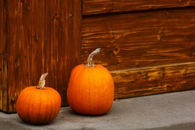 Duas abóboras nos degraus da varanda de madeira