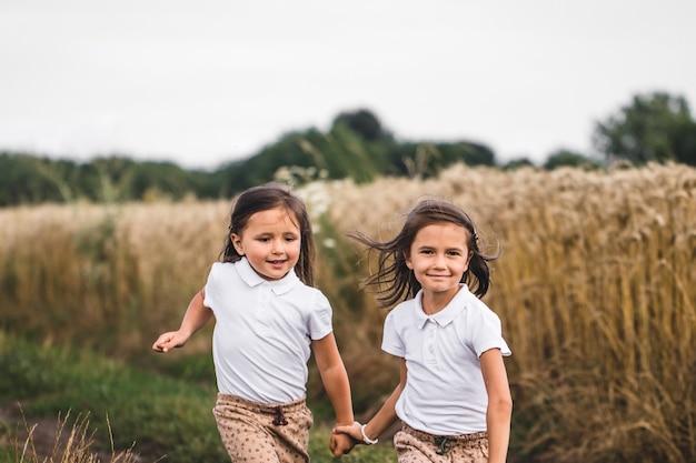 Duas adoráveis irmãzinhas caminhando alegremente no campo de trigo em um dia quente e ensolarado de verão