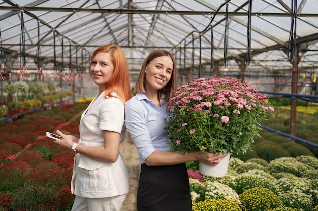Duas adoráveis senhoras posando com um monte de crisântemos rosa em uma bela casa verde florescendo com telhado de vidro.