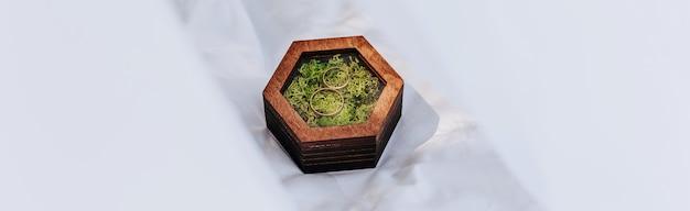 Duas alianças de casamento em uma caixa de madeira com uma planta de musgo em uma superfície branca com véu