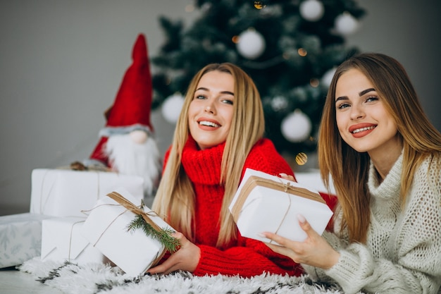 Duas amigas com presentes de natal perto da árvore de natal