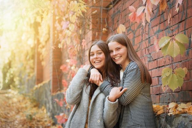 Duas amigas engraçadas riem e se divertem