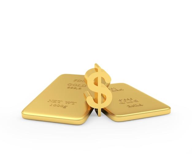 Duas barras de ouro com um cifrão 3d