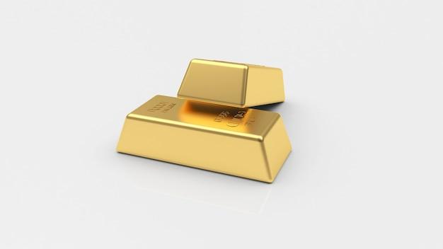 Duas barras de ouro em um branco