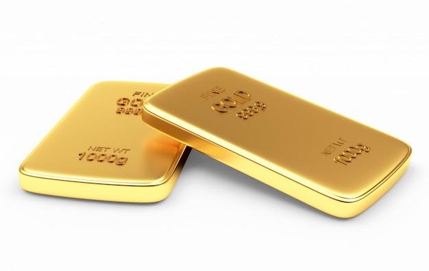 Duas barras de ouro planas