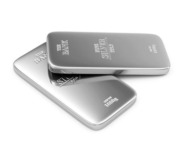 Duas barras de prata planas em branco