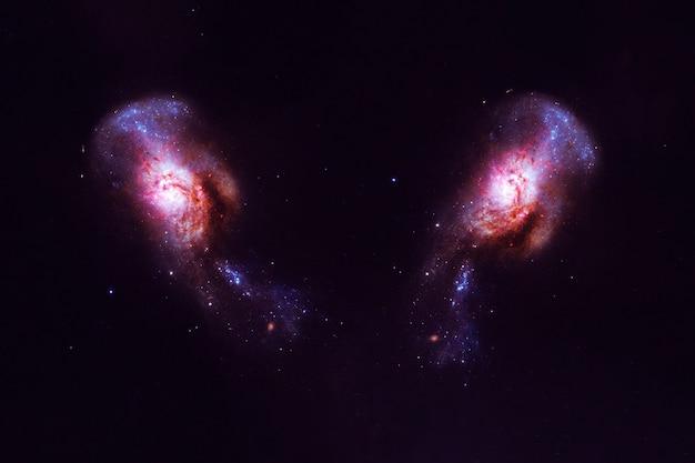Duas belas galáxias. os elementos desta imagem foram fornecidos pela nasa. foto de alta qualidade