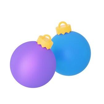 Duas bolas da árvore de natal, roxa e azul, renderização 3d em close-up