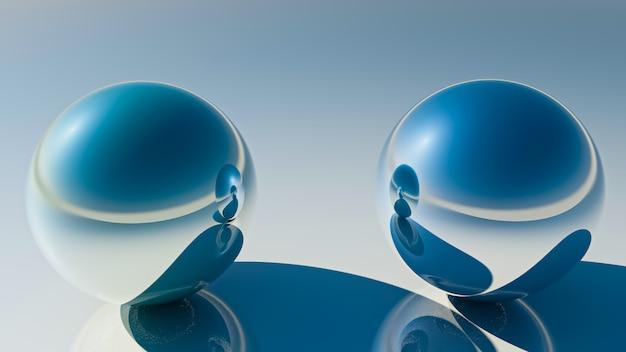 Duas bolas de espelhos. renderização em 3d