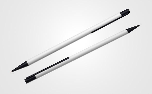 Duas canetas 3d brancas e pretas simplistas em fundo branco