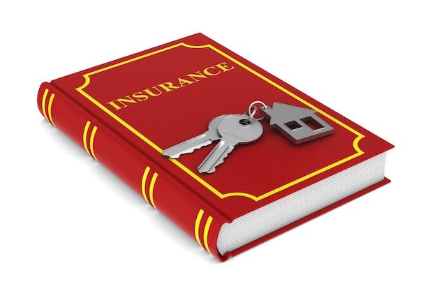 Duas chaves, casa de bugigangas e livro vermelho. isolado, renderização 3d
