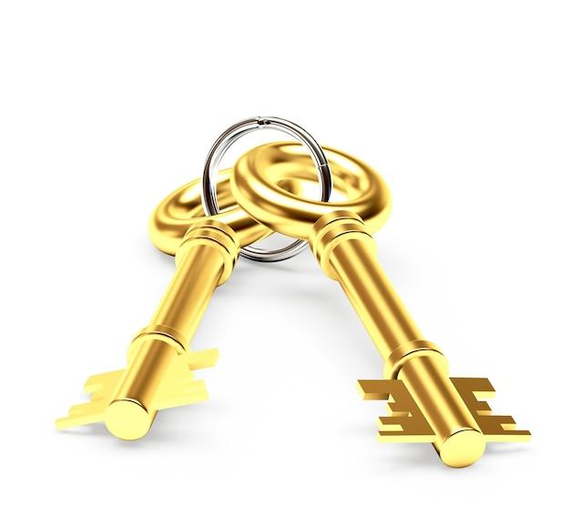 Duas chaves de ouro em um chaveiro