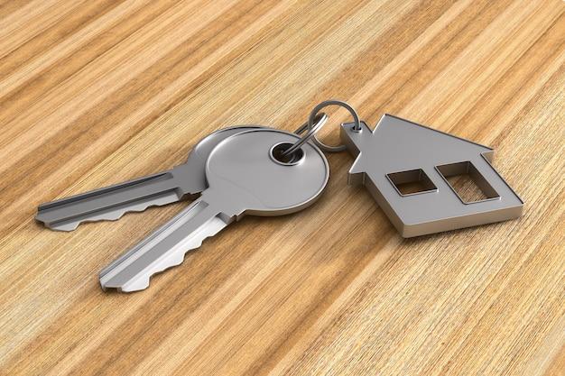 Duas chaves e casa de bugigangas na superfície de madeira. ilustração 3d