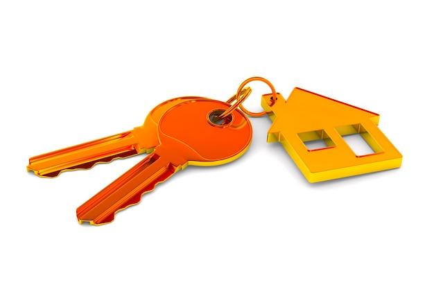 Duas chaves e casa de bugigangas no espaço em branco. ilustração 3d isolada