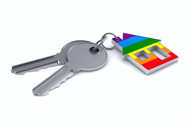 Duas chaves e casa lgbt em fundo branco. ilustração 3d isolada