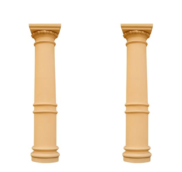 Duas colunas no estilo ionic, isoladas no fundo branco
