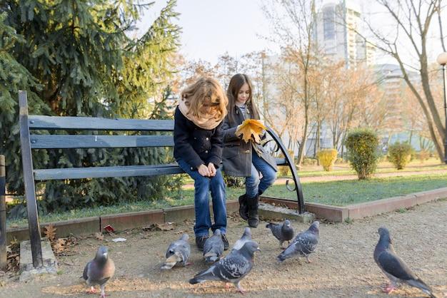 Duas crianças crianças alimentam pombos pássaros em dia ensolarado de outono