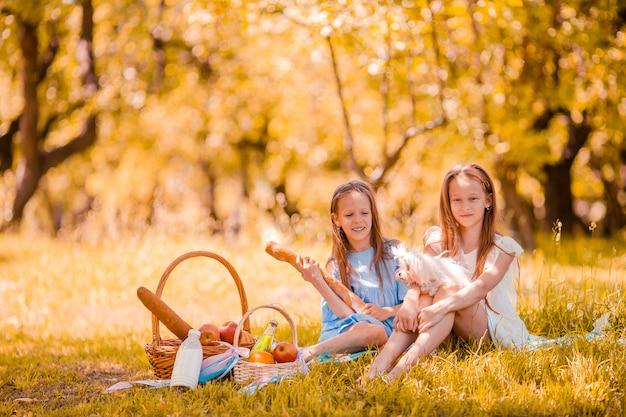 Duas crianças no piquenique no parque