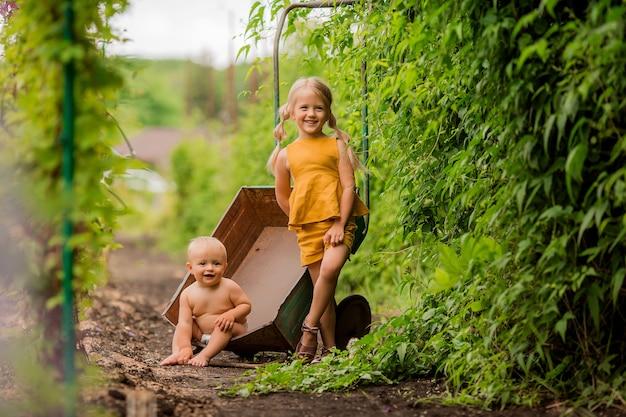 Duas crianças pequenas menina e menino no país em um carrinho de mão de jardim sentado sorrindo