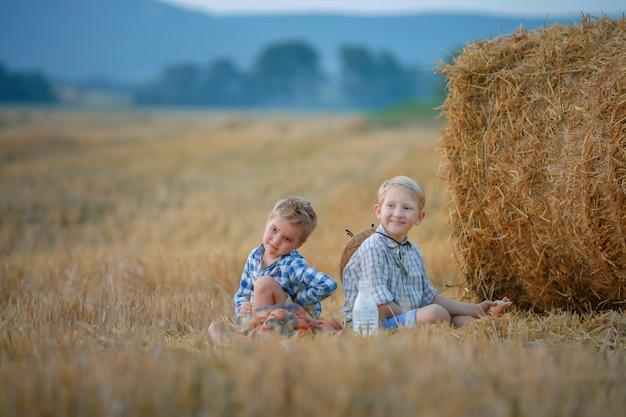 Duas crianças sentadas em um campo de trigo cortado perto de uma pilha de feno