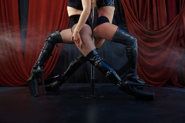 Duas dançarinas sexy, pole dance, dançarinas de strip-tease. strippers femininas atraentes, lap-dancing, apresentação de poledance, garotas gostosas no palco