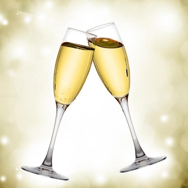 Duas elegantes taças de champanhe