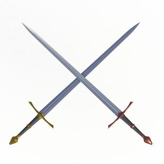 Duas espadas cruzadas, isoladas no fundo branco, renderização em 3d