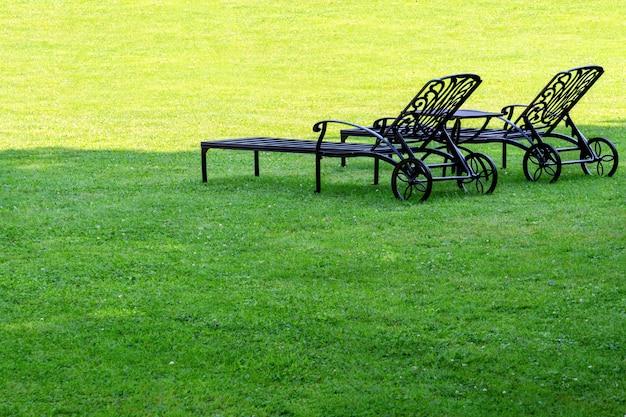 Duas espreguiçadeiras estão em pé em um jardim sombrio em um gramado verde.