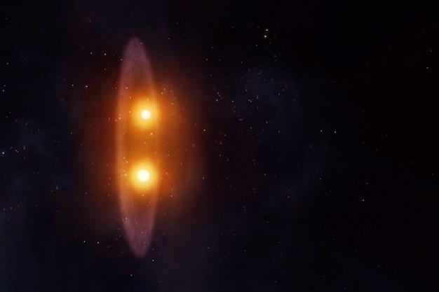 Duas estrelas em um sistema. os elementos desta imagem foram fornecidos pela nasa. foto de alta qualidade