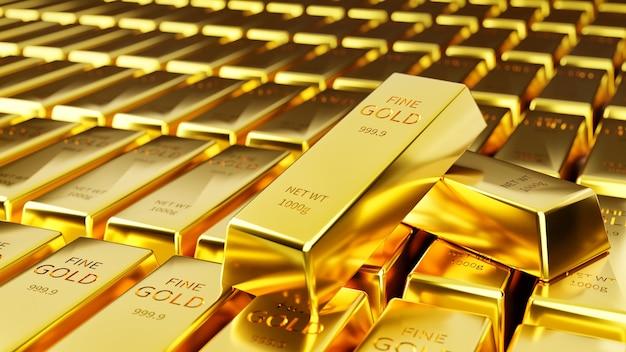 Duas facadas de ouro foram empilhadas contra o fundo