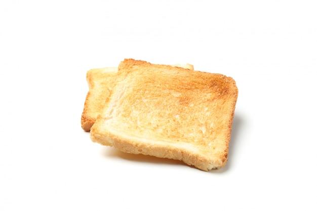 Duas fatias de pão torradas isoladas no branco