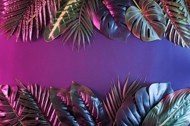 Duas fileiras de folhas e palmeiras tropicais como uma borda em um estilo contemporâneo dramático. selva temperamental de néon.