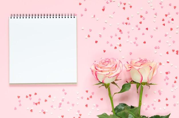 Duas flores rosas frescas florescendo com bloco de notas em fundo rosa com corações coloridos