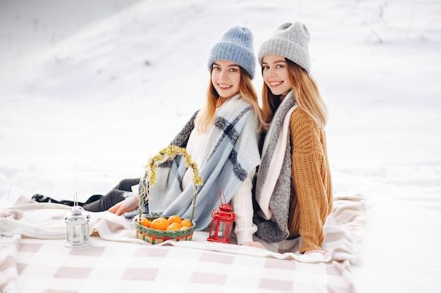 Duas garotas bonitas em um parque de inverno