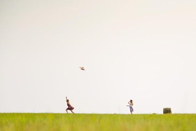 Duas garotas correm em um campo de verão com uma pipa